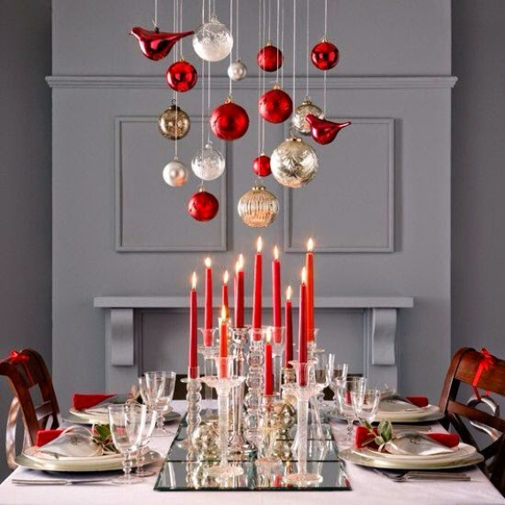 christmas dining table decor in red and white 5
