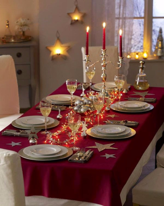 60 christmas dining table decor in red and white family for Dinner table design ideas