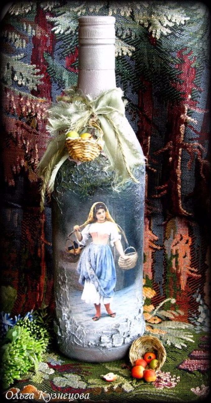 How To Decorate Glass Bottles With Decoupage Diy Recycle With Art Family Holiday Net Guide To
