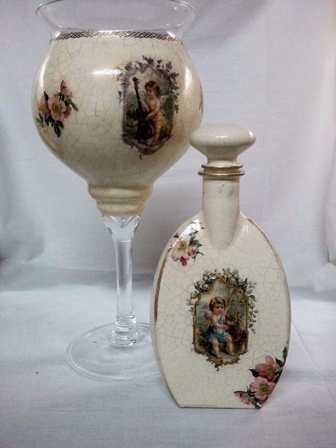 decorate Glass bottles with Decoupage (18)