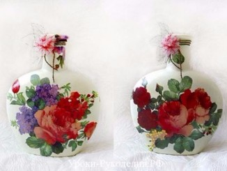 decorate Glass bottles with Decoupage  (3)