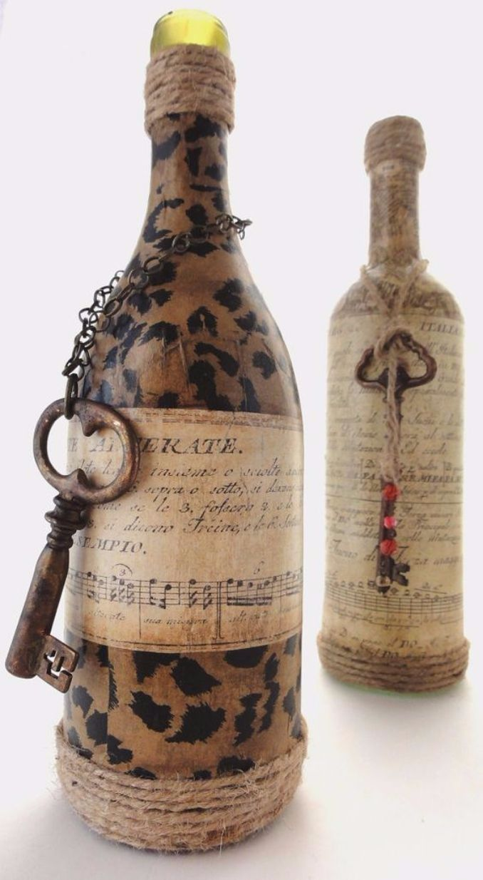 decorated glass bottles. decorate Glass bottles with Decoupage  4 How to DIY Recycle Art