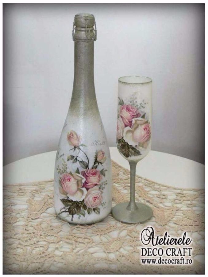 decorated glass bottles. decorate Glass bottles with Decoupage  7 How to DIY Recycle Art