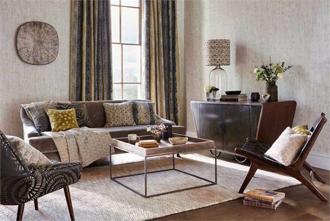 1-Harlequin-additions-fragments-walchia-fabric-curtains-cushions-yellow-mustard-blue-zigzag-stripe-living room