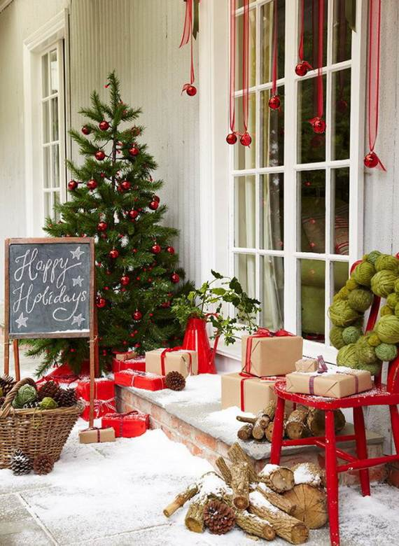 cool diy decorating ideas for christmas front porch_34