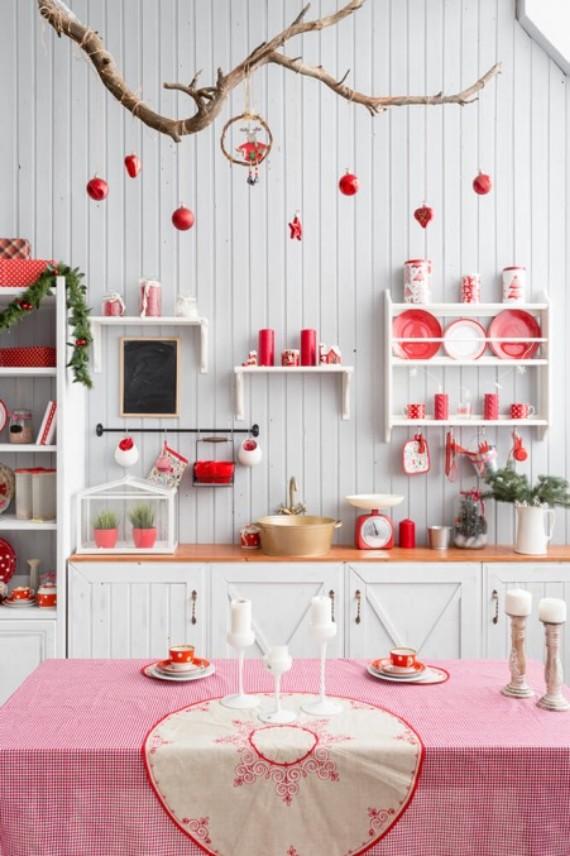 Red Details Christmas Kitchen Decor