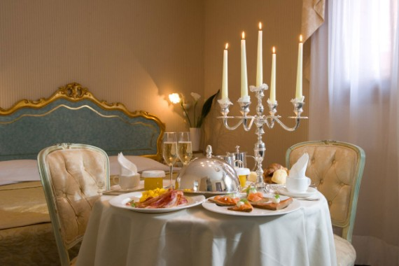romantic dining space in the bed room
