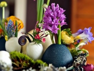 Easter Decorations Ideas with Eggshells and Flowers