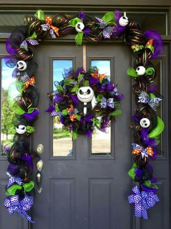 bold purple and green deor with white pumpkin faces