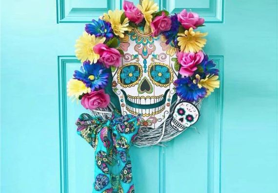 Sugar Skull Themed Halloween Wreaths
