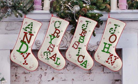 Monogram Stockings Family Christmas Stockings Set