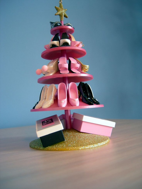 Christmas Shoe Tree.A Holiday Barbie Themed Christmas Tree Family Holiday Net
