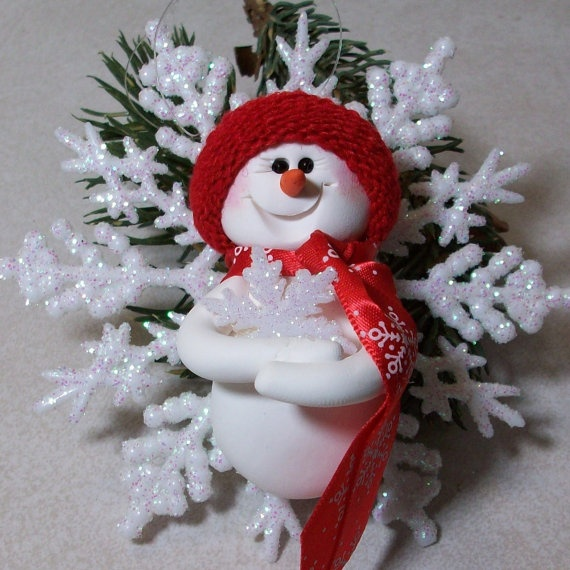 Polymer Clay Snowman for   Christmas Holiday_03