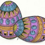 Easter  Holiday Eggs Coloring Pages For Kids.