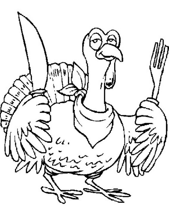 Thanksgiving Turkey coloring page | 744x570