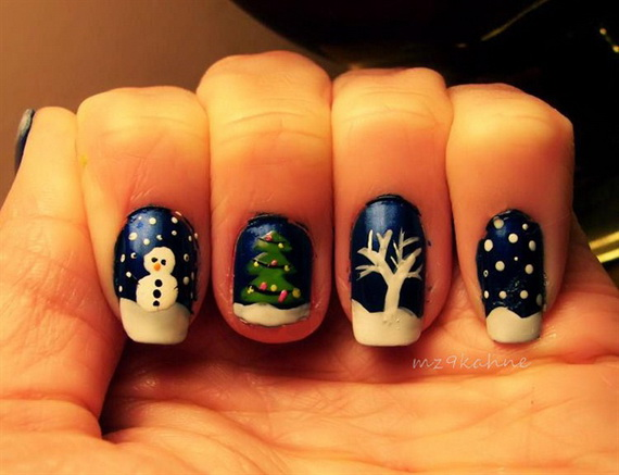 Cute Blue Winter Nail Art Designs