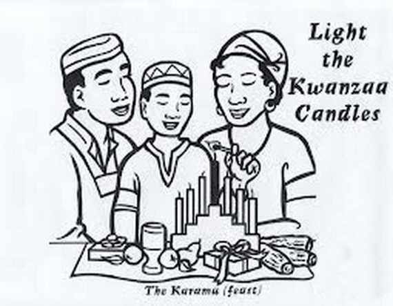 December Holiday Kwanzaa Coloring Pages Family