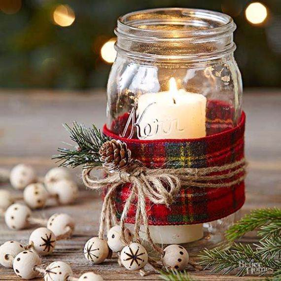 mason-jar-lantern-wrapped-with-plaid-fabric-twine-and-a-pinecone