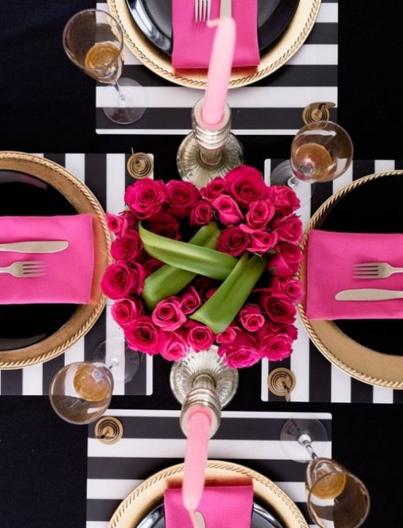 Pink-and-Black-Modern-Tablescape