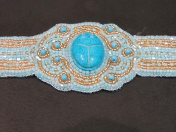 Egyptian jewelry -Bead Embroidered Egyptian Scarab _03