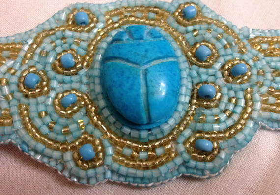 Egyptian jewelry -Bead Embroidered Egyptian Scarab _05
