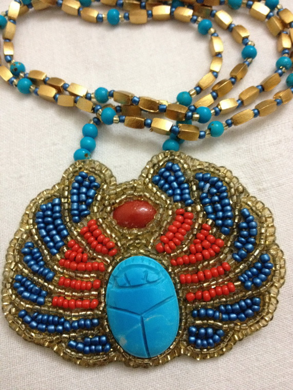 Egyptian jewelry -Bead Embroidered Egyptian Scarab _1