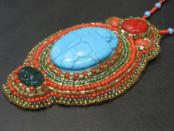 Egyptian jewelry -Bead Embroidered Egyptian Scarab _2