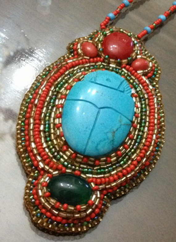 Egyptian jewelry -Bead Embroidered Egyptian Scarab _3