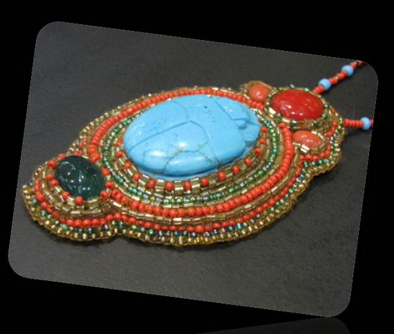 Egyptian jewelry -Bead Embroidered Egyptian Scarab _4