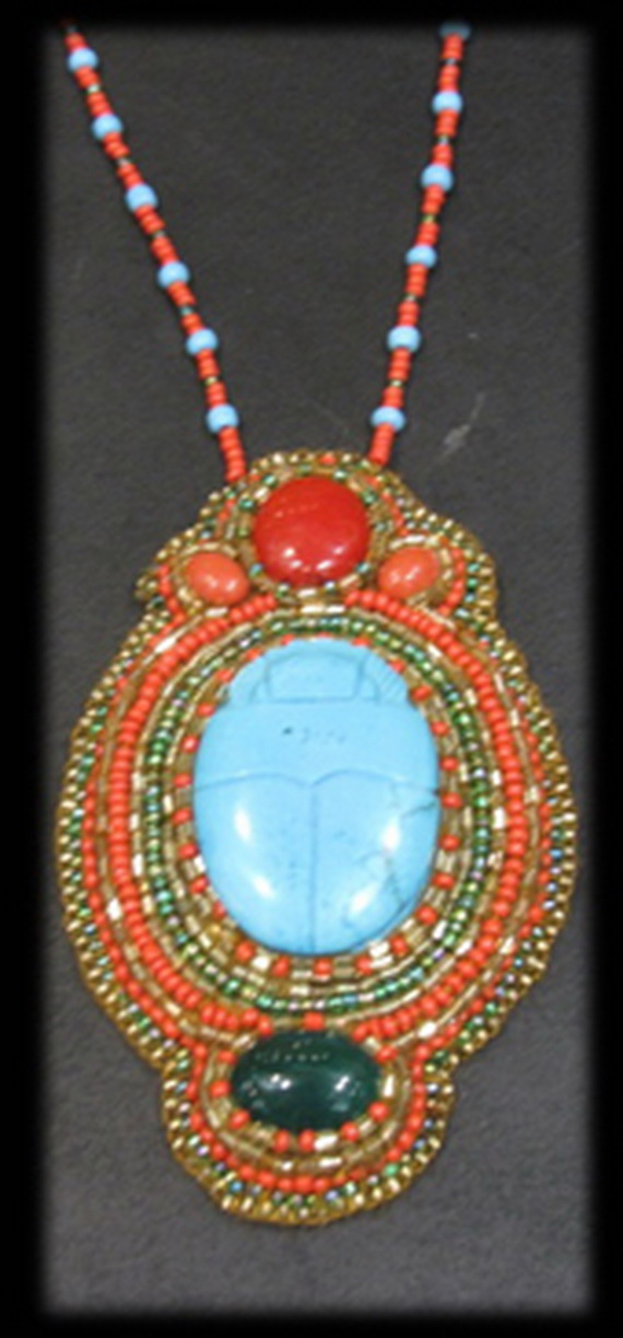 Egyptian jewelry -Bead Embroidered Egyptian Scarab _6