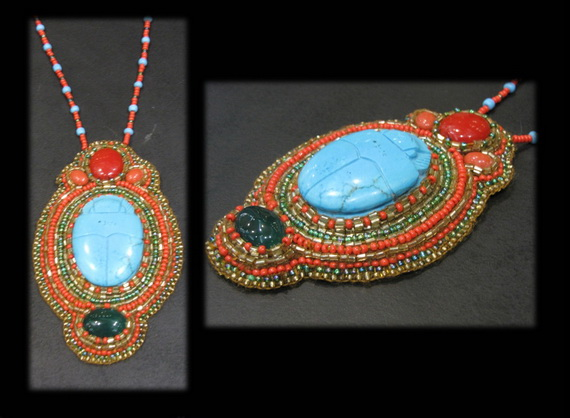 Egyptian jewelry -Bead Embroidered Egyptian Scarab _7