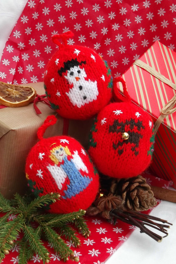 Christmas Decor – Knit Christmas Tree Ornament craft ideas.   (30)