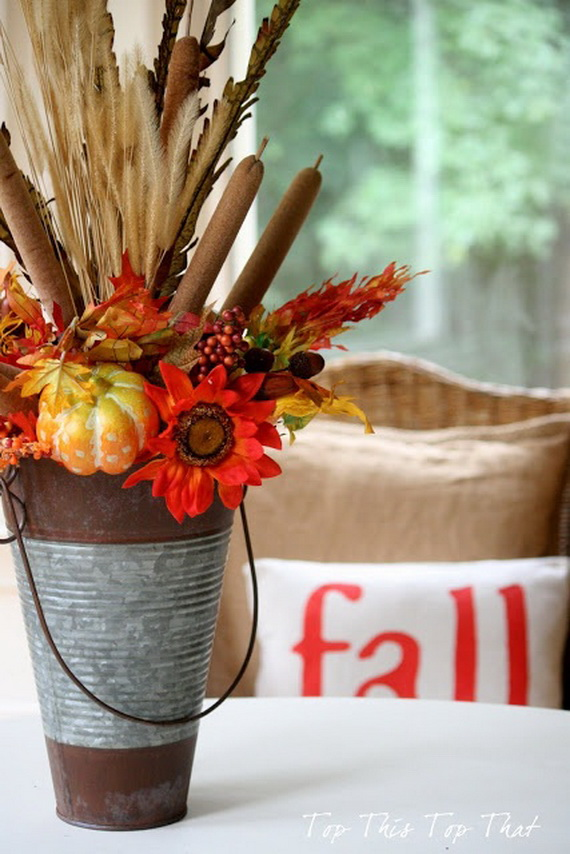 Cool Fall Flower Centerpiece and Flower Table  (14)