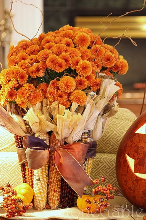 Cool Fall Flower Centerpiece and Flower Table  (53)