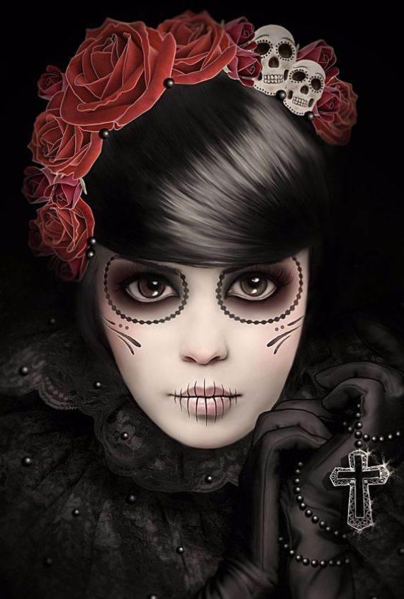 50 Halloween Best Calaveras Makeup Sugar Skull Ideas for Women (10)