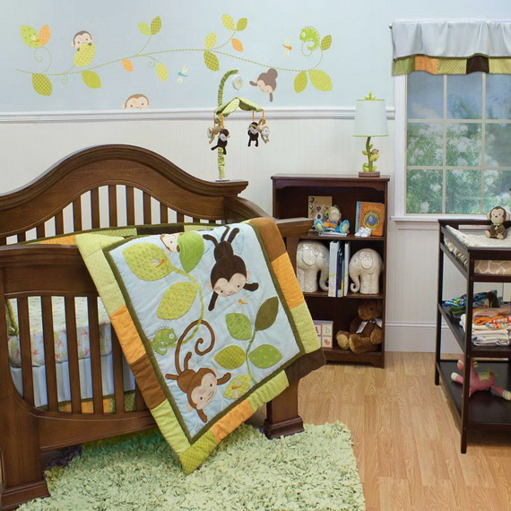 Monkey Baby Crib Bedding Theme and Design Ideas _24