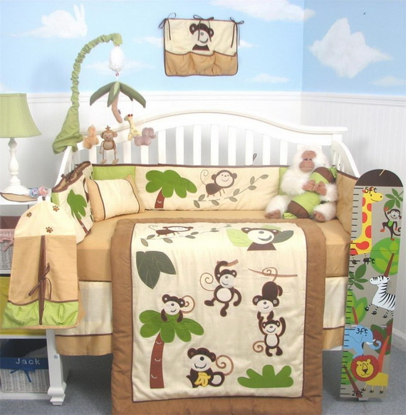Monkey Baby Crib Bedding Theme and Design Ideas _30