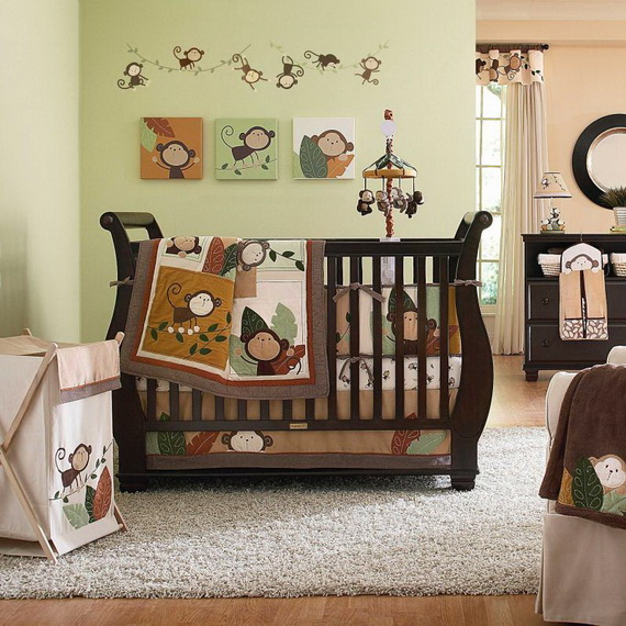 Monkey Baby Crib Bedding Theme and Design Ideas _33