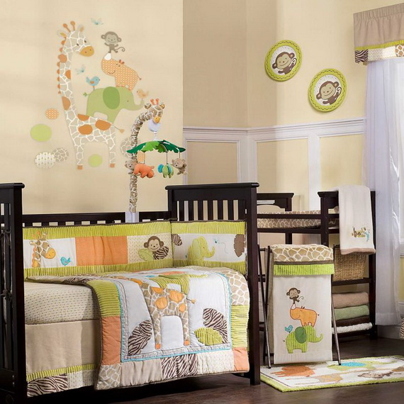 Monkey Baby Crib Bedding Theme and Design Ideas _37