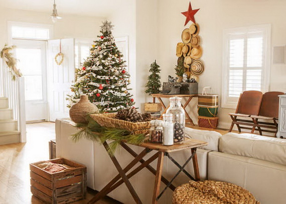 Elegant Christmas Country Living Room Decor Ideas 19