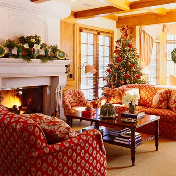 Elegant Christmas Country Living Room Decor Ideas 44