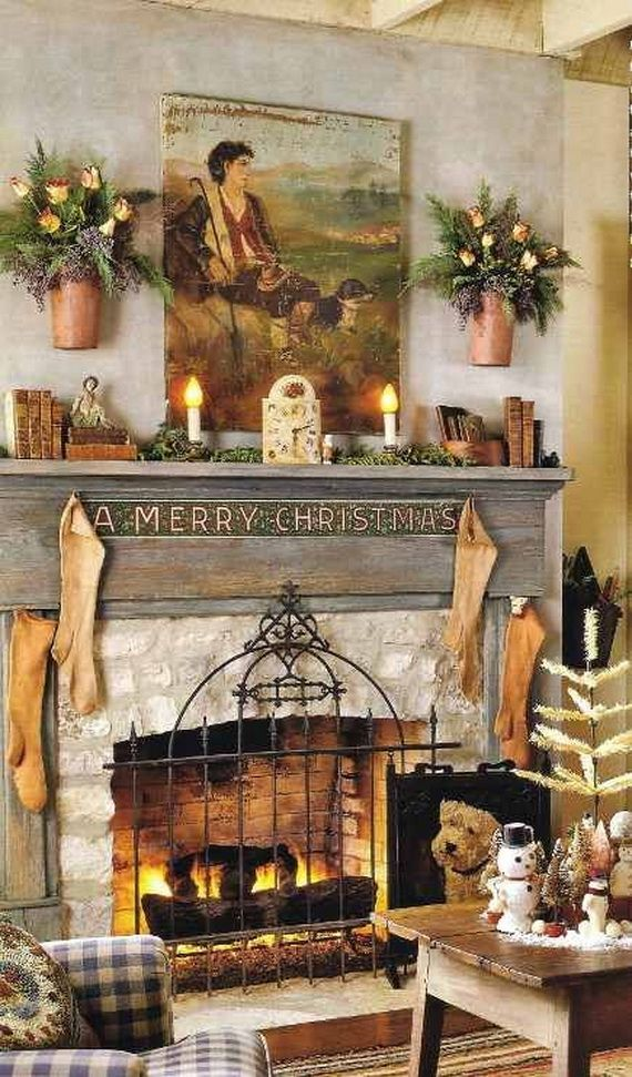 Gorgeous Fireplace Mantel Christmas Decoration Ideas _01