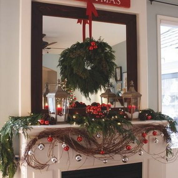Gorgeous Fireplace Mantel Christmas Decoration Ideas _33