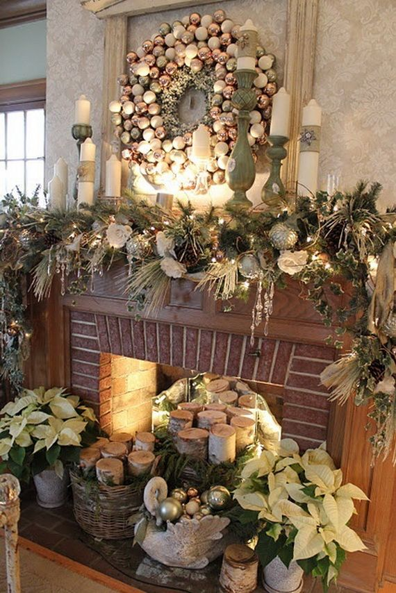 Gorgeous Fireplace Mantel Christmas Decoration Ideas _35