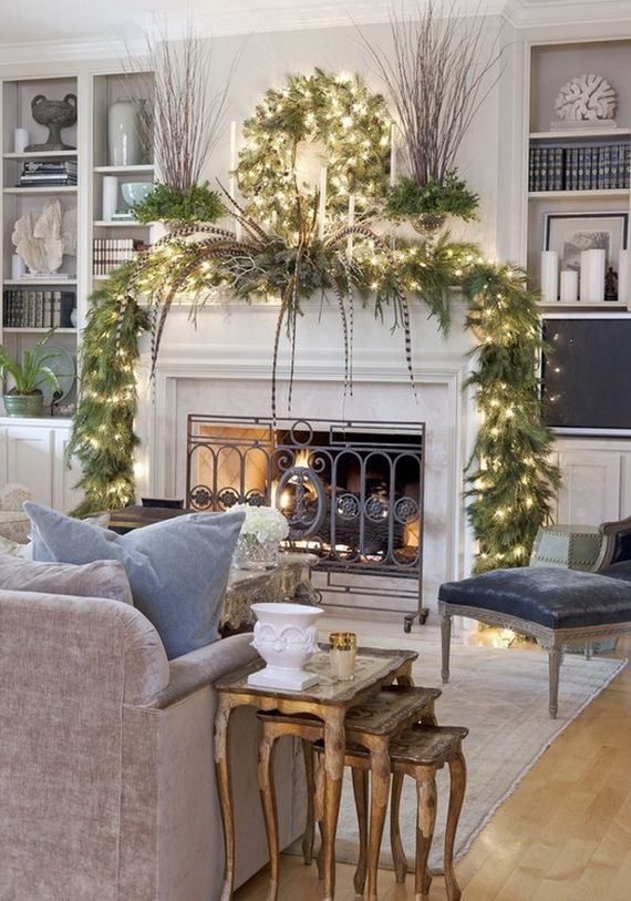 Gorgeous Fireplace Mantel Christmas Decoration Ideas _42