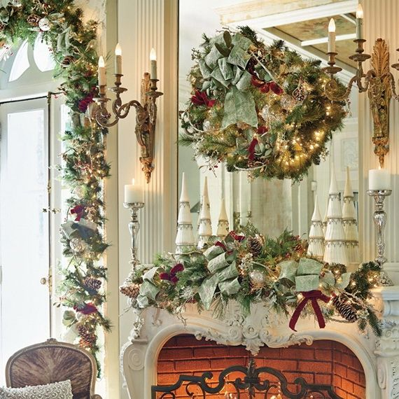 Gorgeous Fireplace Mantel Christmas Decoration Ideas 48