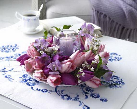 Tulpen: Kranz mit Windlicht