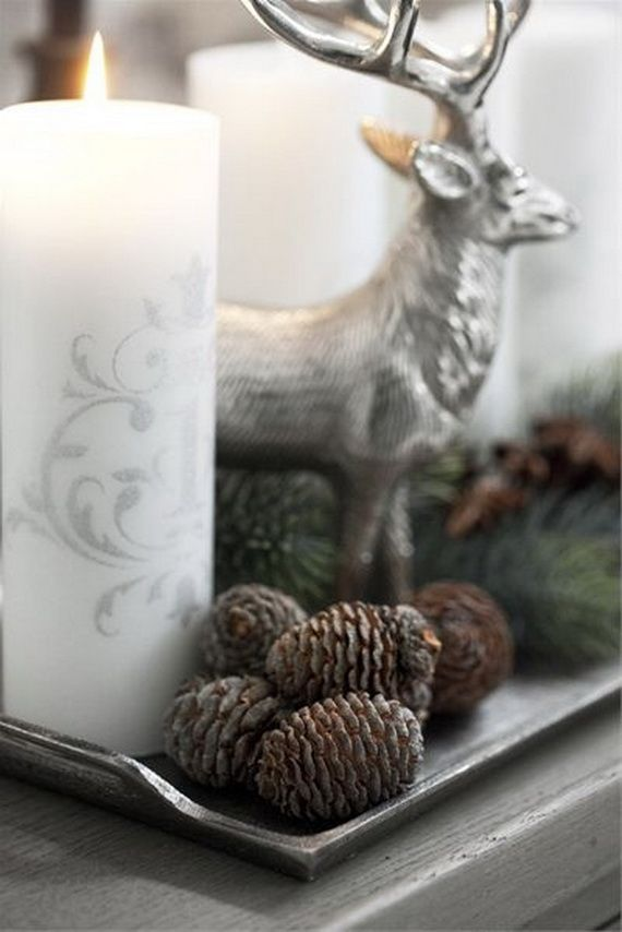 35 Gorgeous Holiday Mantel Decorating Ideas with Pine cones_03