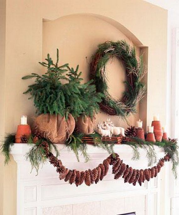 35 Gorgeous Holiday Mantel Decorating Ideas with Pine cones_04