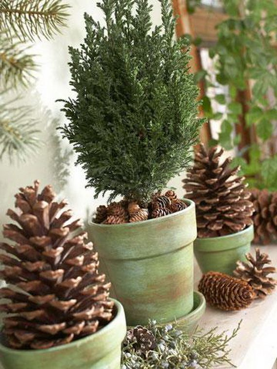35 Gorgeous Holiday Mantel Decorating Ideas with Pine cones_08